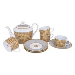 Hermes Mosaique Au 24 Gold Teapot Set of 4 Cup Saucer New w/Box