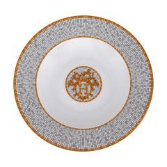 Hermes Mosaique Au 24 Soup Plate Gold Set of 2 New w/Box