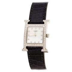 Hermes Mother of Pearl l Diamonds H Hour HH1.230 Women's Wristwatch 21 mm