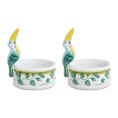 "Hermes & Moustiers, Pair of Polychrome Earthenware Candlesticks ""Toucans"""