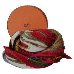 Hermes Multi Color Plisse Pleated Festival by Henry d'Origny Scarf