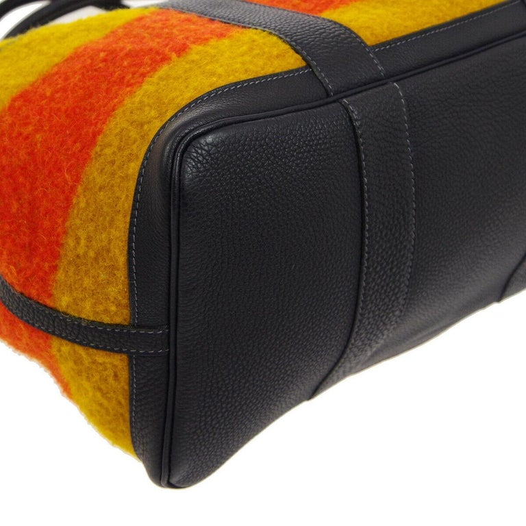 Hermes Multi Color Stripe Wool Leather Men's Carryall Travel Top Handle Tote Bag 1