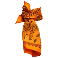 Hermes Multicolor Animal-Printed Silk Scarf