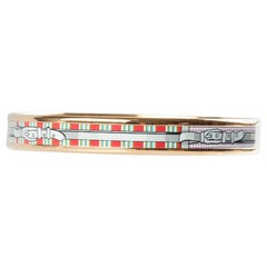 Hermes Multicolor Belt Printed Enamel Gold Plated Bangle Bracelet