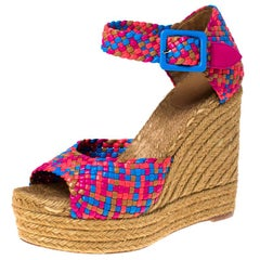 Hermes Multicolor Braided Leather Ankle Strap Espadrille Wedges Sandals Size 40