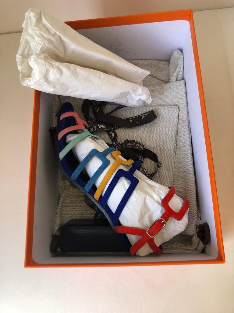 Black Hermes Multicolor Chevre Velour Ode Sandals IT. 36.5 For Sale