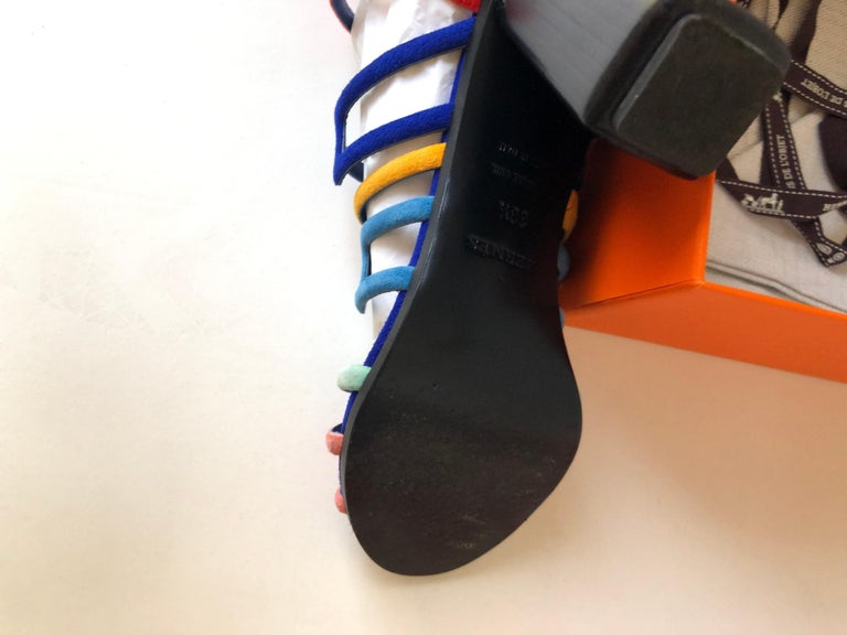 Hermes Multicolor Chevre Velour Ode Sandals IT. 36.5 In Good Condition For Sale In Port Hope, ON