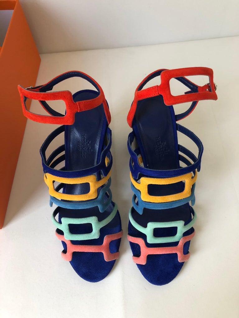 Women's Hermes Multicolor Chevre Velour Ode Sandals IT. 36.5 For Sale