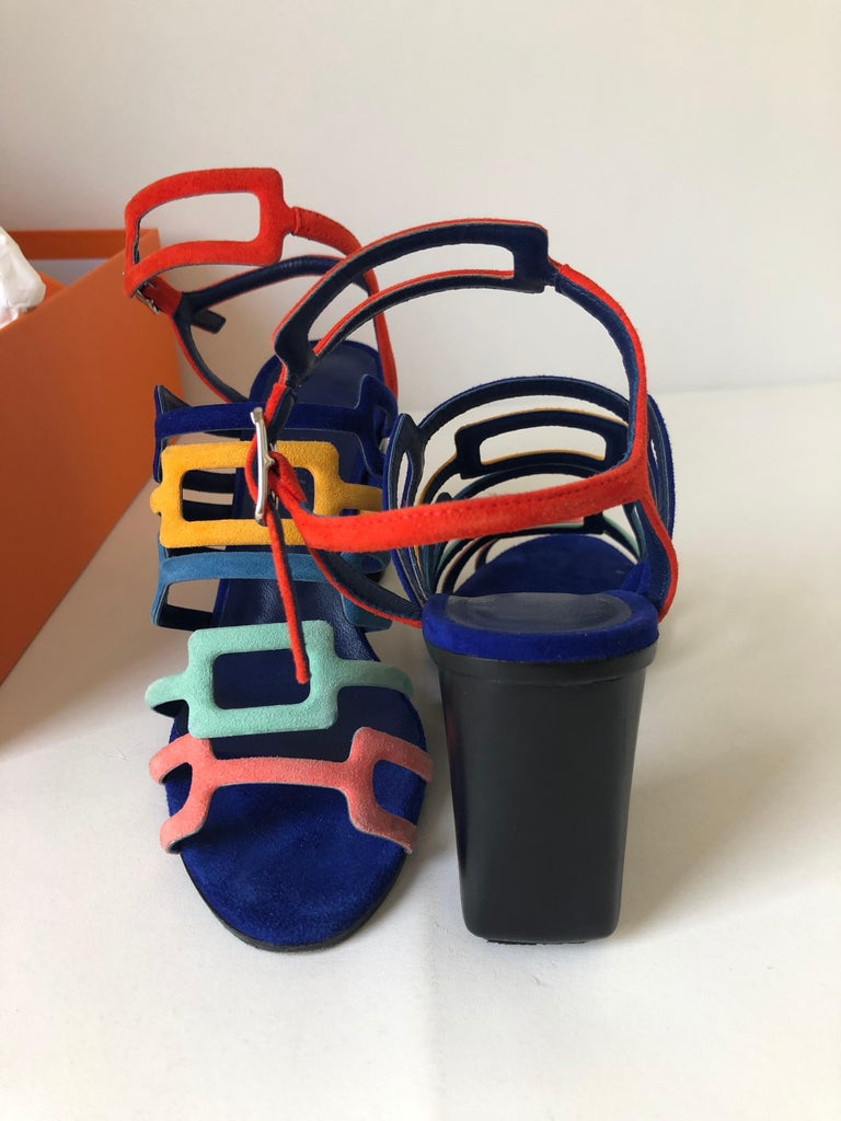 Hermes Multicolor Chevre Velour Ode Sandals IT. 36.5 For Sale 1