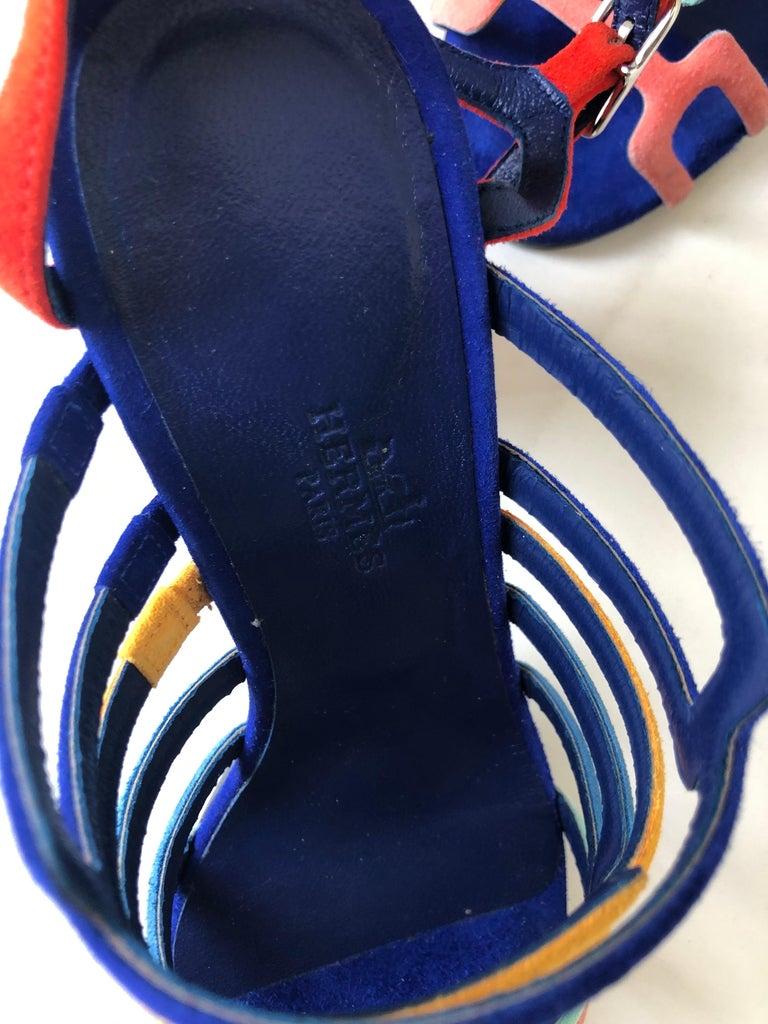 Hermes Multicolor Chevre Velour Ode Sandals IT. 36.5 For Sale 3