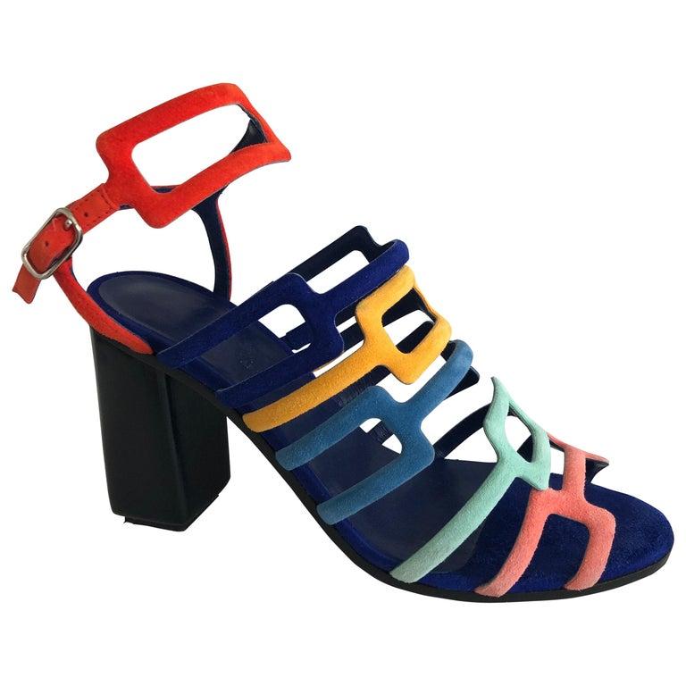 Hermes Multicolor Chevre Velour Ode Sandals IT. 36.5 For Sale