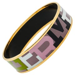 Hermès Multicolor Enamel Gold Plated Capitales Wide Bracelet