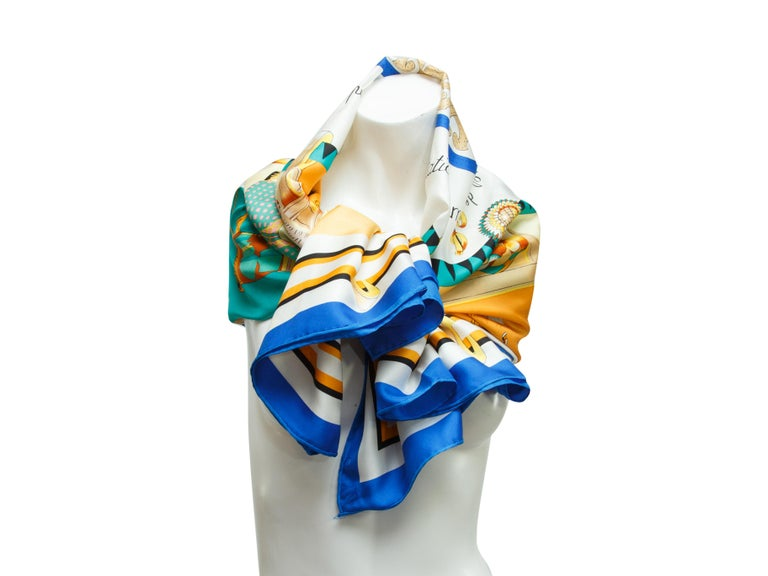 Beige Hermes Multicolor Horse-Printed Silk Scarf For Sale