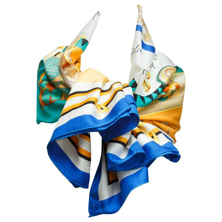 Hermes Multicolor Horse-Printed Silk Scarf For Sale
