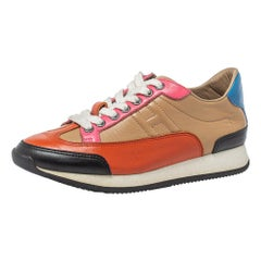 Hermes Multicolor Leather Trial Low Top Sneakers Size 36