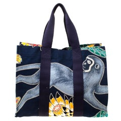 Hermes Multicolor Printed Canvas Maxi Savana Dance Beach Tote