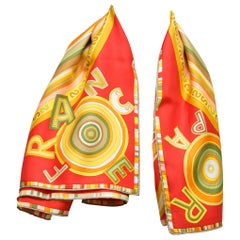 Hermes Multicolor Printed Silk Scarf