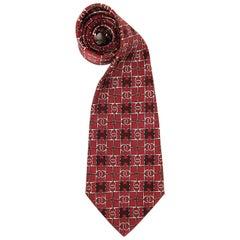 Hermès Multicolor Printed Silk Vintage Tie, 1970s