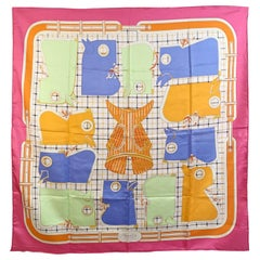 Hermes Multicolor Silk Scarf Camails 1974 Francoise De La Perriere
