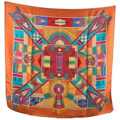 Hermes Multicolor Silk Scarf L'Art Indien Des Plaines 2004 Sophie Koechlin