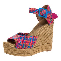 Hermes Multicolor Woven Leather Espadrille Wedge Ankle Strap Sandals Size 40