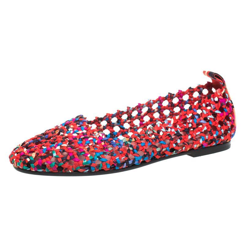 Hermès Multicolor Woven Silk Minorque Ballet Flats Size 40