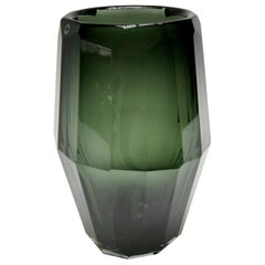 Hermès Murano Green Glass Fluted Vase