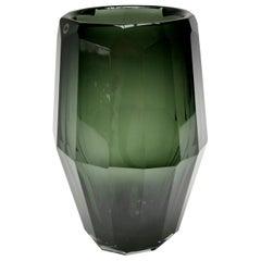 Hermes Murano Green Glass Fluted Vase