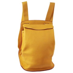 Hermes Mustard Fabric Leather Men's Women's Shoulder Travel Backpack Bag