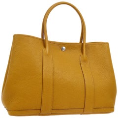 Hermes Mustard Leather Large Carryall Travel Garden Top Handle Satchel Tote Bag