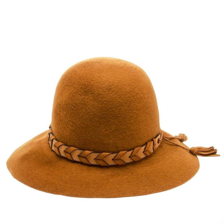 Women's Hermes Mustard Yellow Felt Braided Leather Tassel Trim Fedora Hat Size 57 For Sale