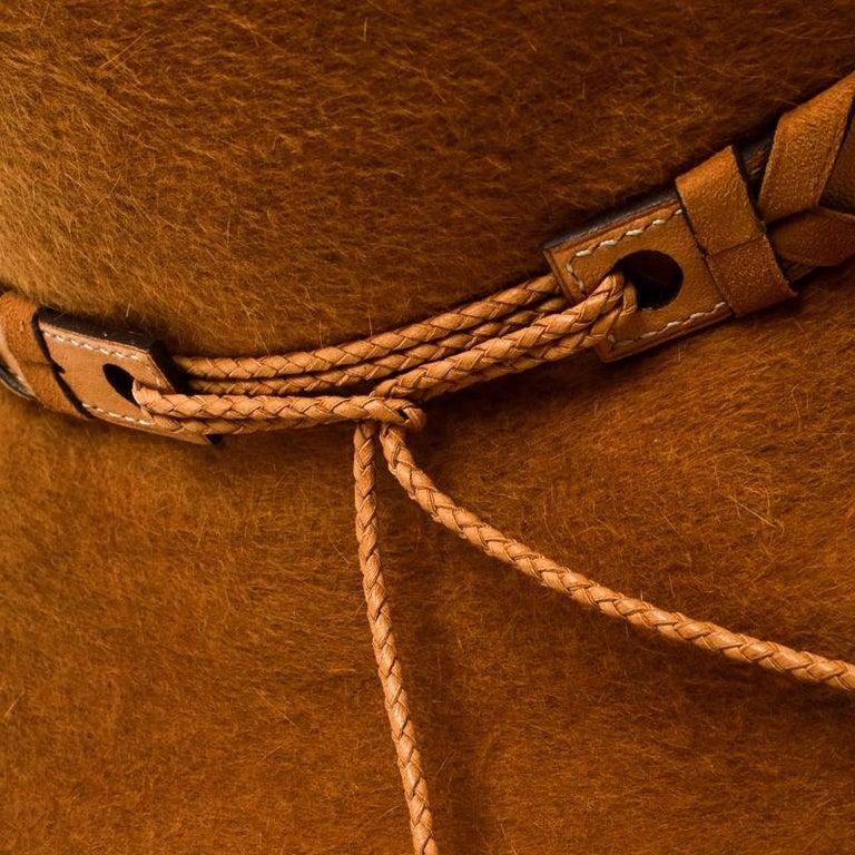 Hermes Mustard Yellow Felt Braided Leather Tassel Trim Fedora Hat Size 57 For Sale 1