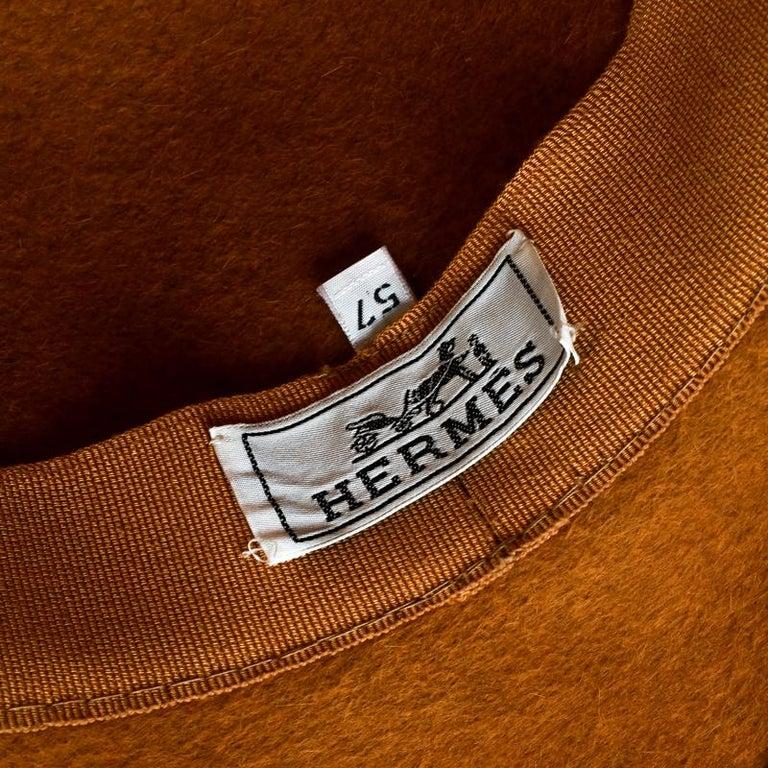 Hermes Mustard Yellow Felt Braided Leather Tassel Trim Fedora Hat Size 57 For Sale 2