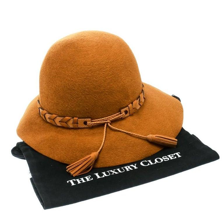 Hermes Mustard Yellow Felt Braided Leather Tassel Trim Fedora Hat Size 57 For Sale 3