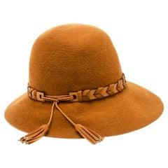 Hermes Mustard Yellow Felt Braided Leather Tassel Trim Fedora Hat Size 57