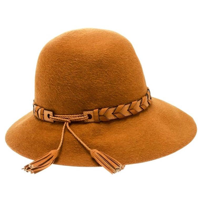 Hermes Mustard Yellow Felt Braided Leather Tassel Trim Fedora Hat Size 57 For Sale