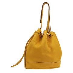 Hermes Mustard Yellow Leather Bucket Gold Drawstring Carryall Shoulder Bag