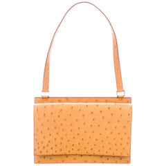 Hermes Mustard Yellow Ostrich Leather Palladium Evening Top Handle Shoulder Bag
