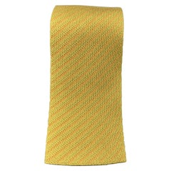 HERMES Muted Mustard & Orange Diagonal Striped Woven Silk Tie