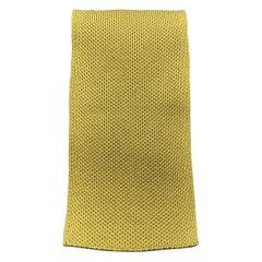 HERMES Muted Mustard Woven Silk Tie