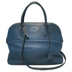 Hermes Mykonos Blue Clemence Leather Bolide Bag