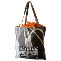 "Hermes ""Mythiques Phoenix"" by Laurence Bourthoumieux Twill Silk Shopping Bag"