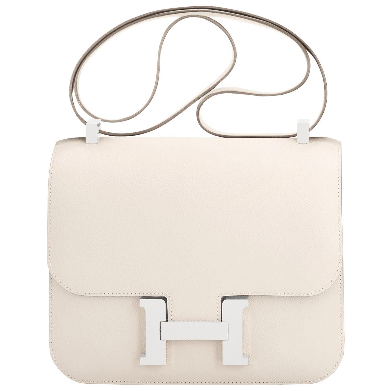 Hermes Nata Off White Epsom Constance 24cm Cream Shoulder Bag Y Stamp, 2020