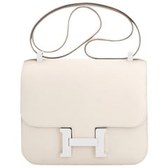 Hermes Nata Off White Epsom Constance 24cm Cream Shoulder Bag Y Stamp, 2020