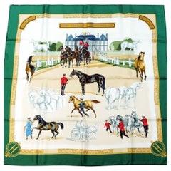 HERMES National Stallion Farm Carre90 LES HARAS NATIONAUX Womens scarf green x b