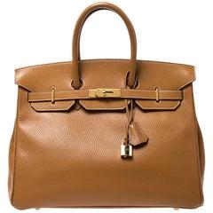 Hermes Natural Sable Ardennes Leather Gold Hardware Birkin 35 Bag