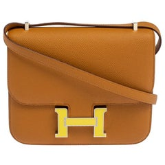 Hermes Natural Sable Evercolor Leather Mini Enamel Hardware Constance Bag
