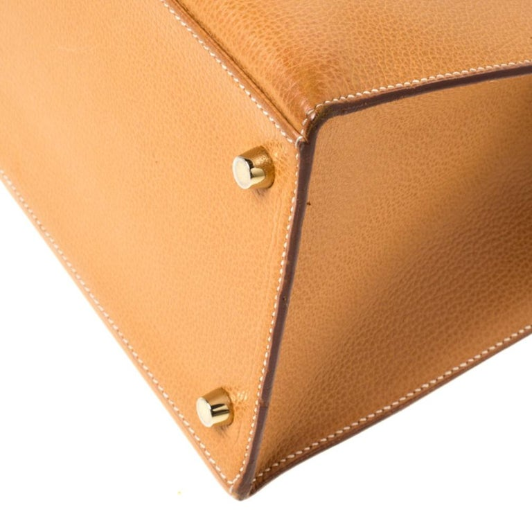 Hermes Natural Sable Vache Liegee Leather Gold Hardware Kelly Sellier 40 Bag For Sale 8