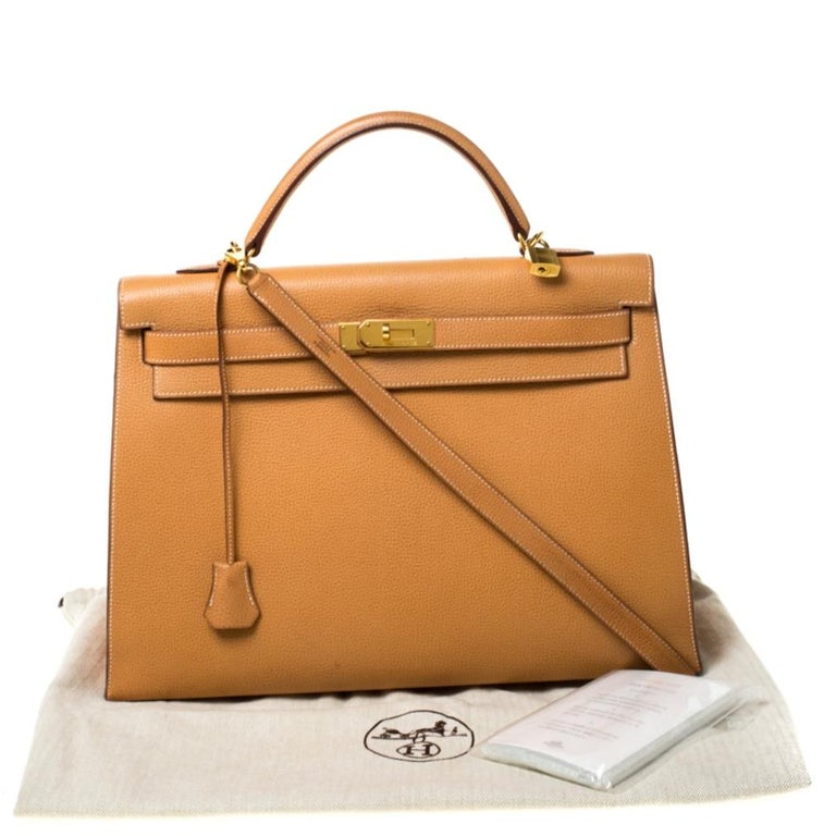 Hermes Natural Sable Vache Liegee Leather Gold Hardware Kelly Sellier 40 Bag For Sale 9
