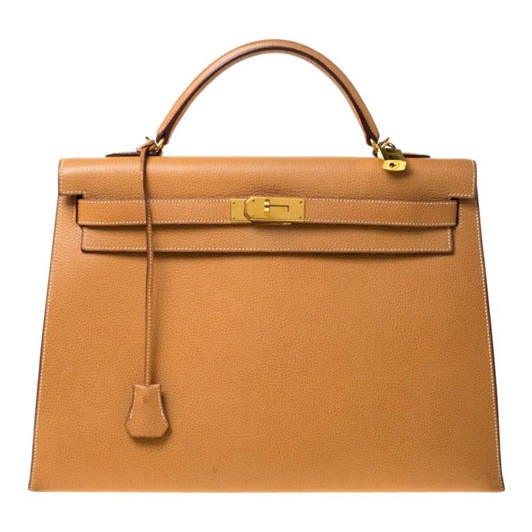 Hermes Natural Sable Vache Liegee Leather Gold Hardware Kelly Sellier 40 Bag For Sale